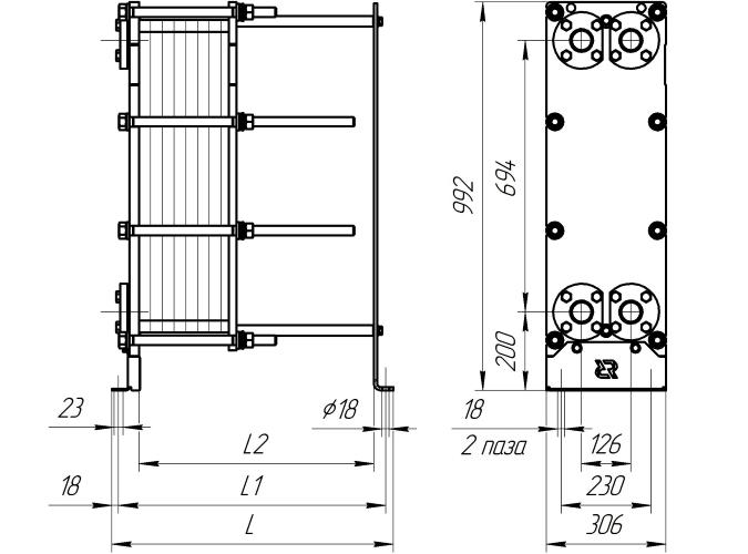 Схема теплообменника Ридан НН14